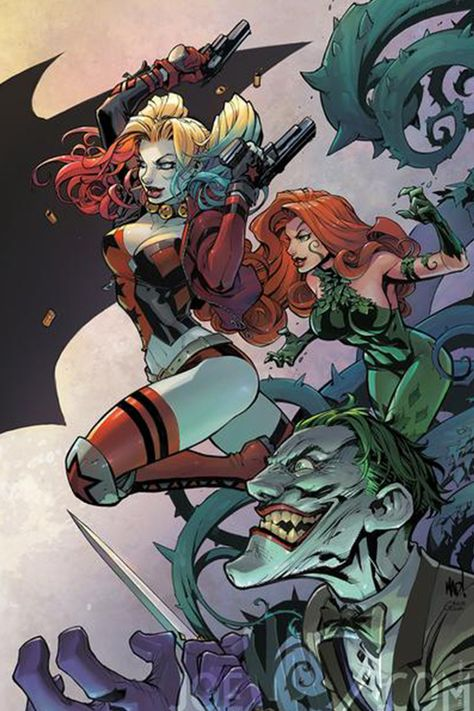 Batman connecting variant covers - Harley Quinn, Poison Ivy and The Joker by Joe Madureira * Joe Madureira, Comic Book Artists, Comic Book Characters, Comic Books Art, Comic Art, Der Joker, Joker Und Harley Quinn, Batman Und Catwoman, Batman Art