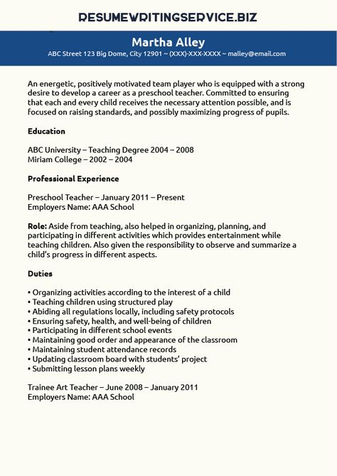 Preschool Teacher Resume Sample - Page 1 Teacher, Curriculum and - resume preschool teacher