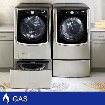 Lg Mega Capacity 5 2 Cuft Turbowash Steam Washer And 9 0cuft Steam Gas Dryer With Optional Pedestals Steam Washer Gas Dryer Washer And Dryer Pedestal