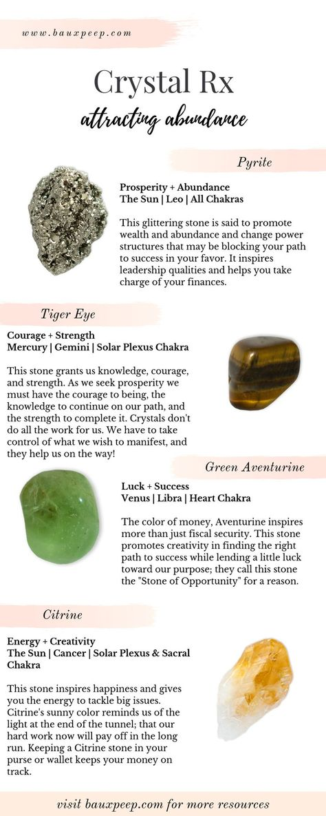 What's your Crystal Rx? Looking for the best crystals to attract abundance? Here a four of the BEST crystals for promoting prosperity and abundance in your life. Check out the blog for more FREE crystal healing resources ! #crystals #crystalmeanings #crystalrx #crystalsforabundance #moneycrystals #prosperitycrystals #crystalhealing #howtousehealingcrystals