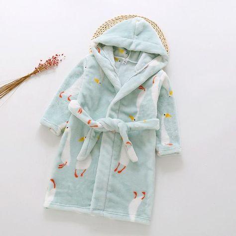 DQCUTE Boys Girls Bathrobes Cartoon Hooded Sleep Robes Soft Flannel Pajamas Sleepwear Shower Robe for Kids