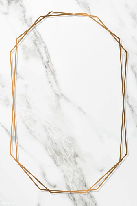 Octagon gold frame on white marble background vector | premium image by rawpixel.com / Juani Coronel Hilazo