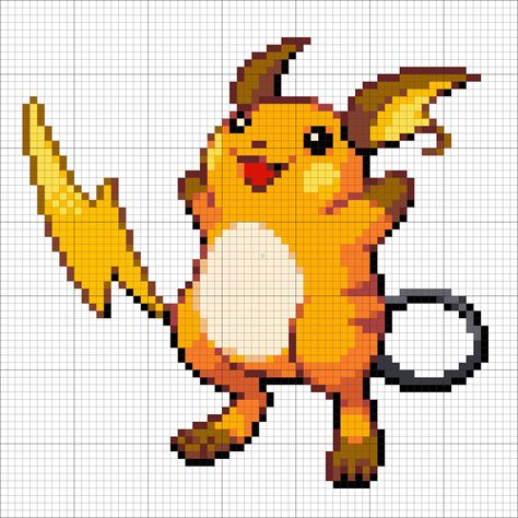 26 Raichu Minecraft Pixel Art Pokemon Perle Point De