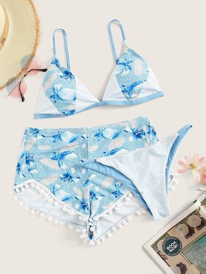 Floral Triangle Bikini Set With Shorts 3pack Em 2020 Com Imagens
