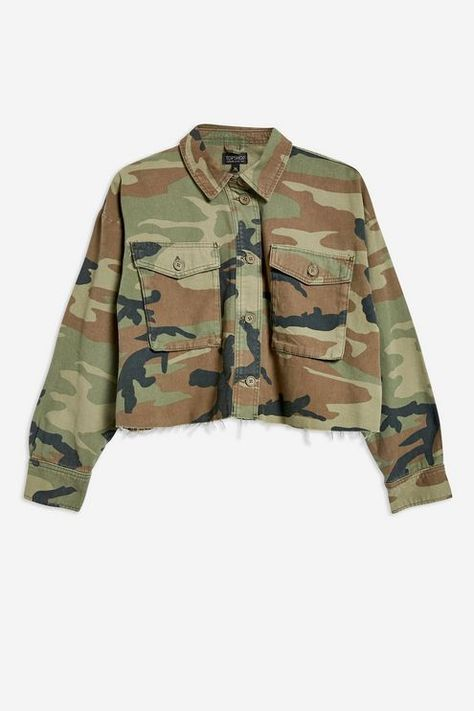 Cropped Camo Shacket - New In Fashion - New In - Topshop Europe