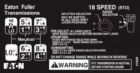 18 Speed Truck Transmission Shift Pattern Google Search Trucker Quotes Eaton Fuller Kenworth Trucks