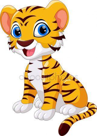 Sesión Dibujos Animados Lindo Bebé Tigre Aislado Sobre Fondo Blanco Animales Animados Tiernos Dibujos De Animales Sencillos Dibujos De Animales