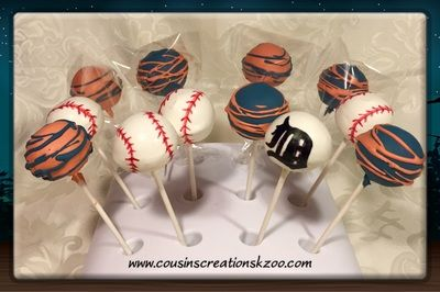 Detroit Tiger cake pops Cake Pops - Cousin's Creations
