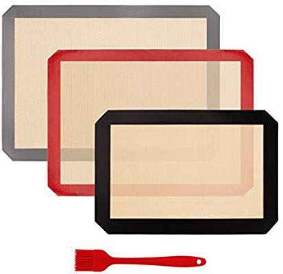 Amazon Com Silicone Baking Mat Set Of 3 Professional Non Stick Large Liner Sheets Kitchen Dining Silicone Baking Baking Mat Silicone Baking Mat