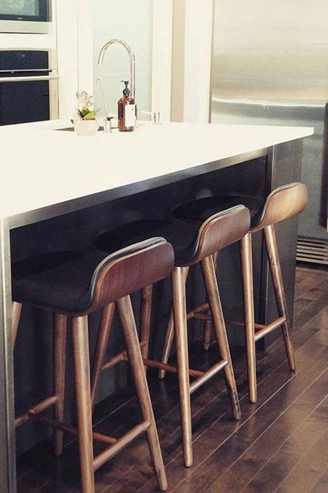 Sede Black Leather Walnut Bar Stool In 2020 Kitchen Bar Design