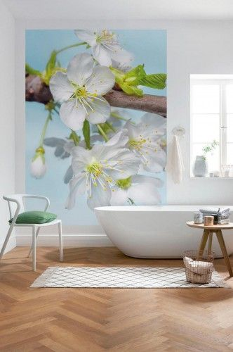 This cherry blossom flower wallpaper mural is super pretty