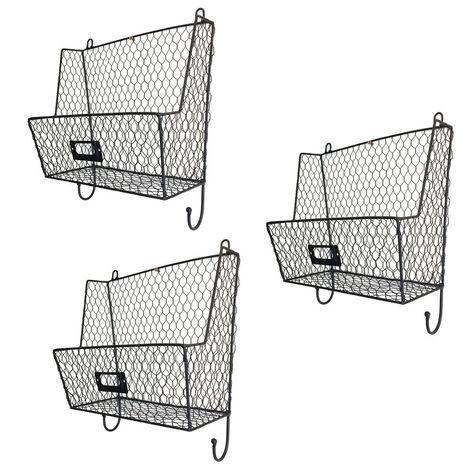 Mail Rack Wall Mount Key Letter Fruit Basket Holder Metal 3 Tier Organizer New Baskets On Wall Metal Wall Basket Bookshelves
