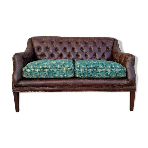 Williston Forge Redd Leather 2 Seater Chesterfield Loveseat Love