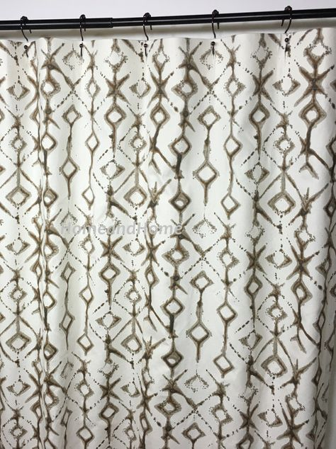 Custom Fabric Shower Curtain Tribal Brown Natural Long Shower