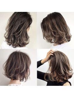 グレージュハイライトボブ ロブ オンブレヘア 髪型 ミディアム