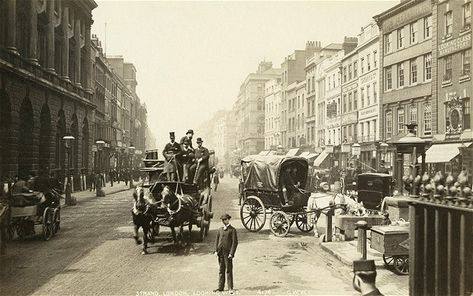 A view of the Strand around 1890, taken from in front of St Mary le Strand. On the left is Somerset House, where Dickens's father John worked as a clerk for the Navy Pay Office.