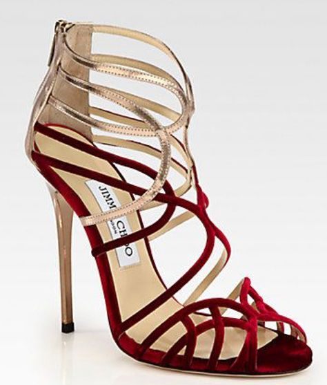ac9aff9e692 Bands of lush velvet and metallic leather form this strappy shape for a  cha-cha-cha effect. Lacquered heel
