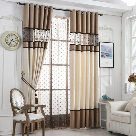 High Quality Luxury Window Curtain Living Room Curtains Coffee
