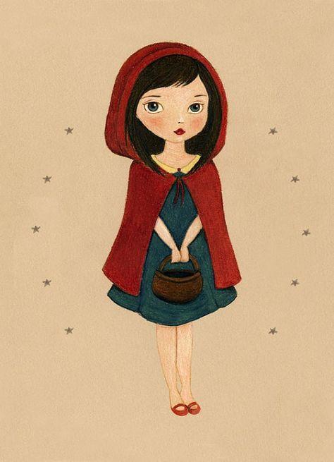 Nursery Art, Girls Room Art, Nursery Art Girl, Poster, Girl Art Print, Fairytale Art, Fairy Tale, Print - Little Red Riding Hood 8x10