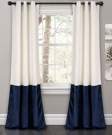 White Navy Prima Color Block Curtain Panel Set Of Two Zulily
