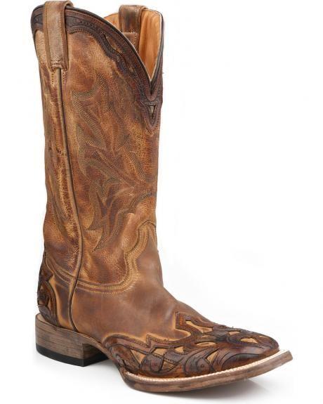 7d34b88fdb Stetson Cowboy Boots Men s Two-Tone Wingtip Leather Square Toe ...