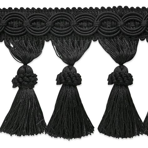 Kylie Classic Tassel Fringe Trim Tassels Fringe Trim Black Fabric