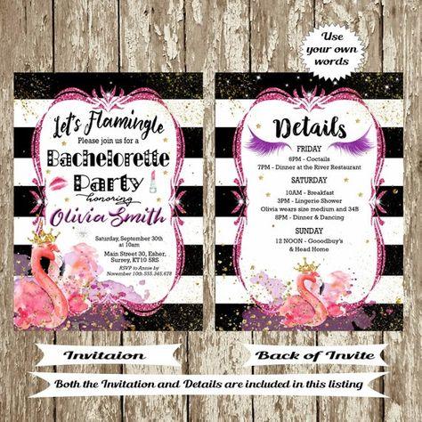 29abe5e2b0c3 Bachelorette Party Invitation Printable Bridal shower Invitations Flamingo  Invitation Bachelorette details card Let s flamingle Black pink