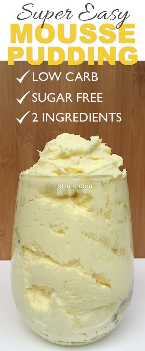 low carb, dessert pudding without sugar! Keto dessert recipe with only 2 ingredients. Quick and easy keto snack with low carbs. Fluffy foam with a rich taste for a delicious keto dessert. Desserts Keto, Keto Dessert Easy, Pudding Desserts, Sugar Free Desserts, Sugar Free Recipes, Pudding Recipes, Keto Snacks, Easy Desserts, Keto Recipes