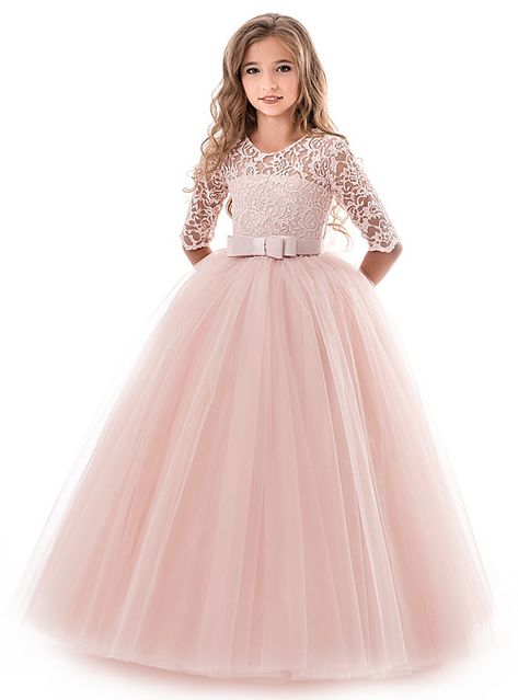 formal dresses Flower Girl Dresses Soft Pink Kids Formal Dress Lace Half Sleeve Bows Tulle A Line Girls Pageant Party Dress