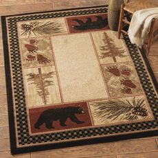 Black Bear Pine Tree Pinecone Lodge Rug X Rustic Cabin Rugs