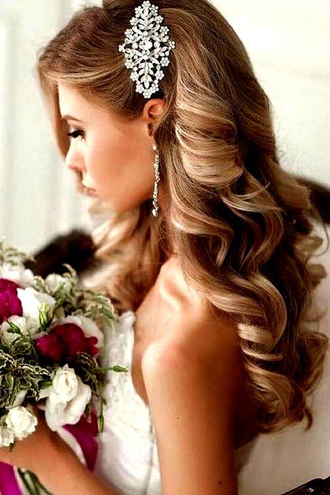 33 Wedding Hairstyles With Hair Down ❤ wedding hairstyles down curly long blonde with side silver pin elstile #weddingforward #wedding #bride #weddinghairstyles #weddinghairstylesdown