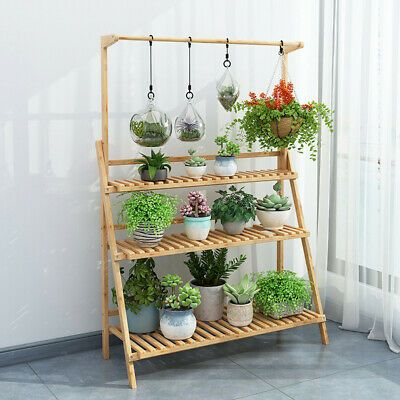 folding bamboo stand flower plant pot