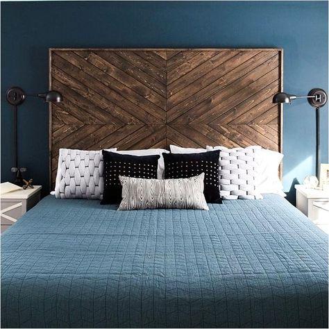 Deco Chambre Bleu Armoire Bois Brut En 2020 Deco Chambre Parentale Tete De Lit Deco Chambre Parentale Moderne