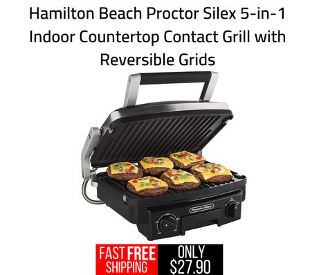 Proctor Silex 5 In 1 Indoor Countertop Contact Grill With