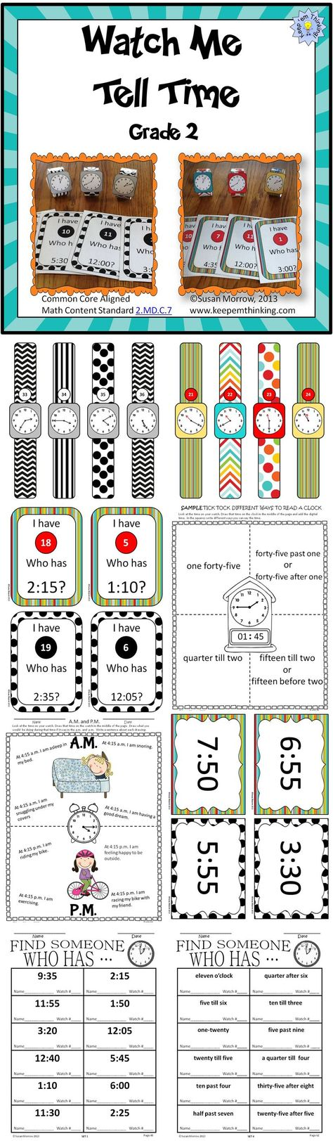 $ Watch Me Tell Time for 2nd Grade uses individual student watches to get your students up and moving and actively involved in learning to tell time to the nearest five minutes. The unit includes 48 individual watches for you to print out, laminate and have students wear during activities to teach time to 5 minute intervals. The watches are available in both color and black and white to save printing costs.