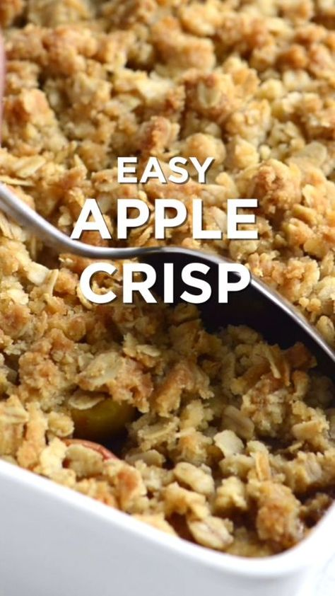 This apple crisp recipe with oats has sweet tender apples and a crisp and crunchy topping made with flour, oats, brown sugar, butter, and cinnamon.