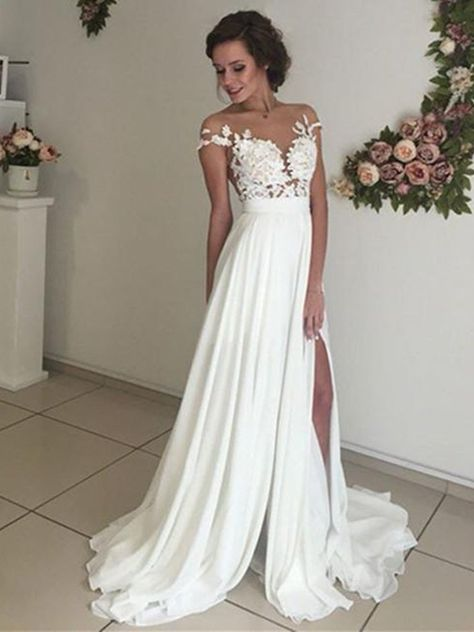 A Line See Through Ivory Lace Wedding Dresses, Ivory Lace Prom Dresses, Formal Dresses, Beach Wedding Dresses #weddingdress #wedding #weddingdresses #weddingidea #laceweddingdress #weddingplanning #weddinggowns