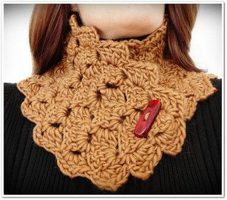 Yvonne is a lacy crochet neck warmer. Easy enough for a beginner. An intermediate crocheter should be able to complete in an evening or two.