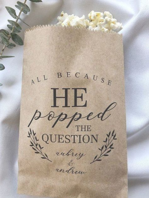 He Popped the Question Popcorn Bags Wedding Favor Bag | Etsy #personalizedweddingfavors He Popped the Question Popcorn Bags Wedding Favor Bag | Etsy