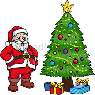 Santa Claus Bearing Gifts Cartoon Clipart Vector Friendlystock Cartoon Clip Art Christmas Vectors Tree Drawing
