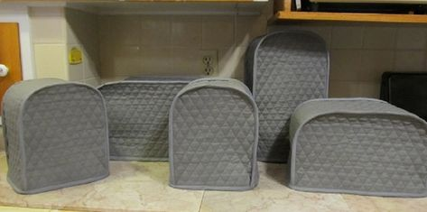 Steel Gray Small Appliance Covers Set Quilted Fabric Dust ...