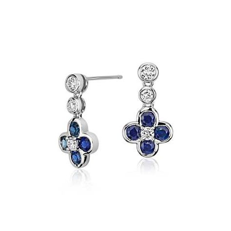 1b18063c3 Blue Nile Studio Something Blue, Sapphire & Diamond Floral Drop Earring in  18k White Gold #BlueNile #Fashion #Design
