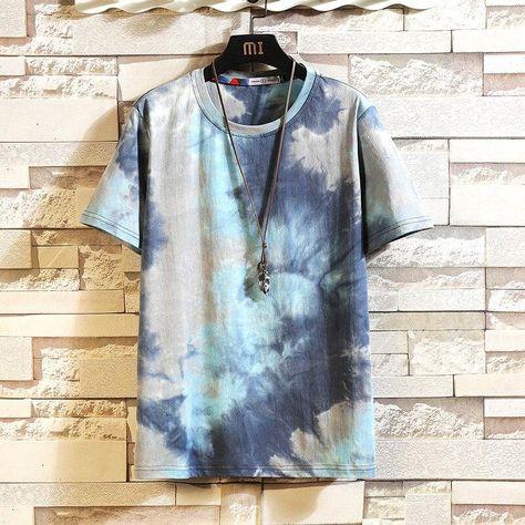 Tie Dye Men's Summer T-shirt - Blue / XXXL