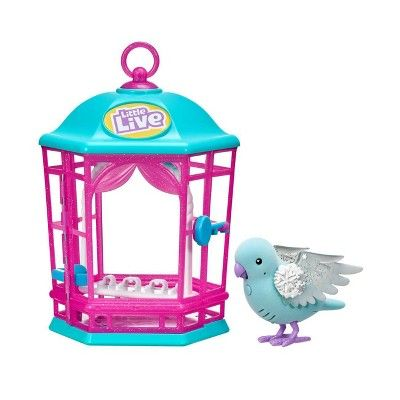 Little Live Pets Light Up Song Bird In Cage Pink Pet Bird Cage
