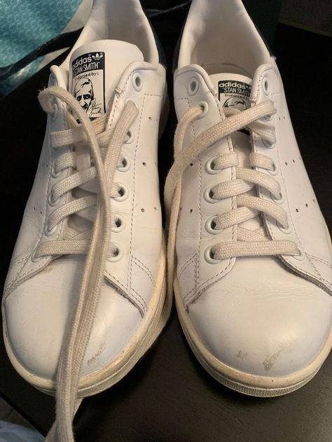 78a07bae450 Adidas Originals Stan Smith Men s Sneaker White Navy Blue Size 7 (Women s  8.5)