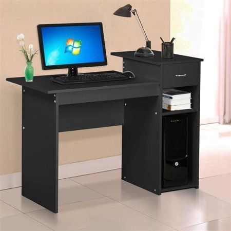 Home Office Compact Computer Desk Drawer Shelf Small Spaces Furniture Black Yaheetech Space Pc Desk Home Office Computer Desk Desk With Drawers