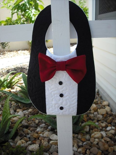 Infant Baby Tuxedo Tux Bib Red Bow Tie Wedding Special Occasion. Member CFEST and FEST.. $10.00, via Etsy.