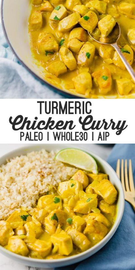 This turmeric chicken curry is flavorful filling and packed with anti-inflammatory ingredients! It's paleo and AIP compliant. This turmeric chicken curry is flavorful filling and packed with anti-inflammatory ingredients! It's paleo and AIP compliant. Whole Foods, Paleo Whole 30, Whole Food Recipes, Diet Recipes, Healthy Recipes, Curry Recipes, Paleo Indian Recipes, Healthy Dishes, Paleo Recipes Simple
