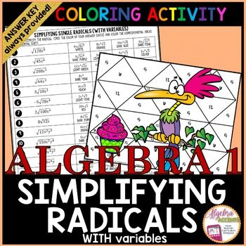 Simplifying Radicals with Variables Coloring Activity ...
