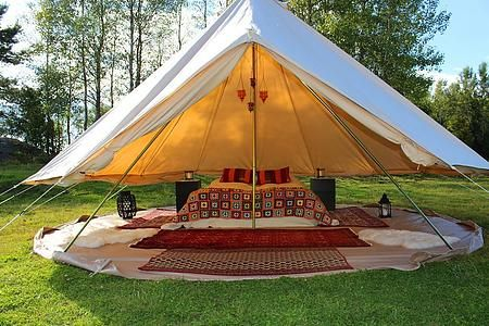 Waterproof Beige Color 4m Cotton Canvas Camping Tent Luxury